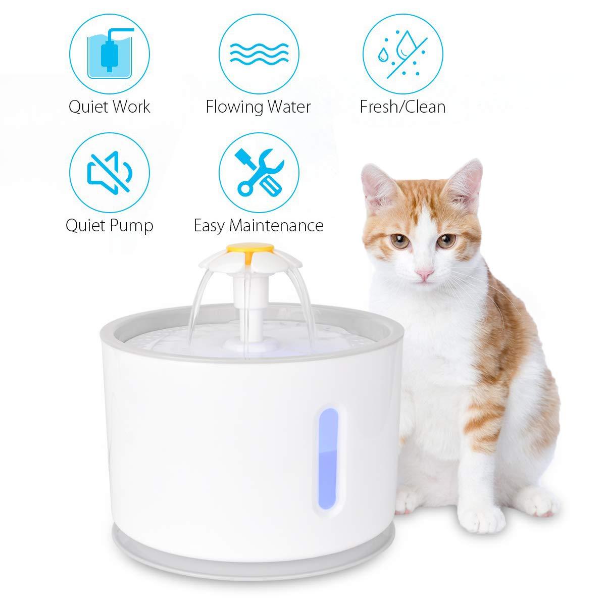 Fuente para Gatos,Iseebiz Bebedero Perro Automatico de 2.4 Litro,Bebedero Gatos de PP con Luz Noctura
