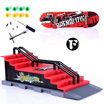 Novobey Fingerboard Mini Finger Skateboard Toy Ramp Parts Fingerboards Training Props Party Favors Educational Finger Toy for Kids and Adults: Toys & Games