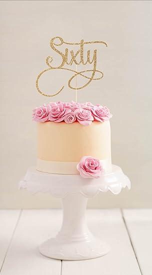 Qidushop Sixty Birthday Cake Topper Tortenaufsatz 60 Geburtstag Custom