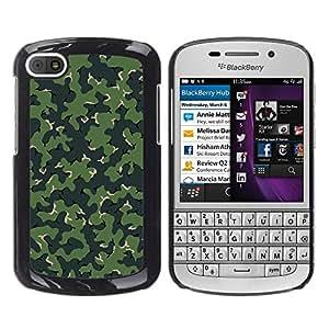 GIFT CHOICE / SmartPhone Carcasa Teléfono móvil Funda de protección Duro Caso Case para BlackBerry Q10 /CAMO CAMOUFLAGE GREEN PATTERN/