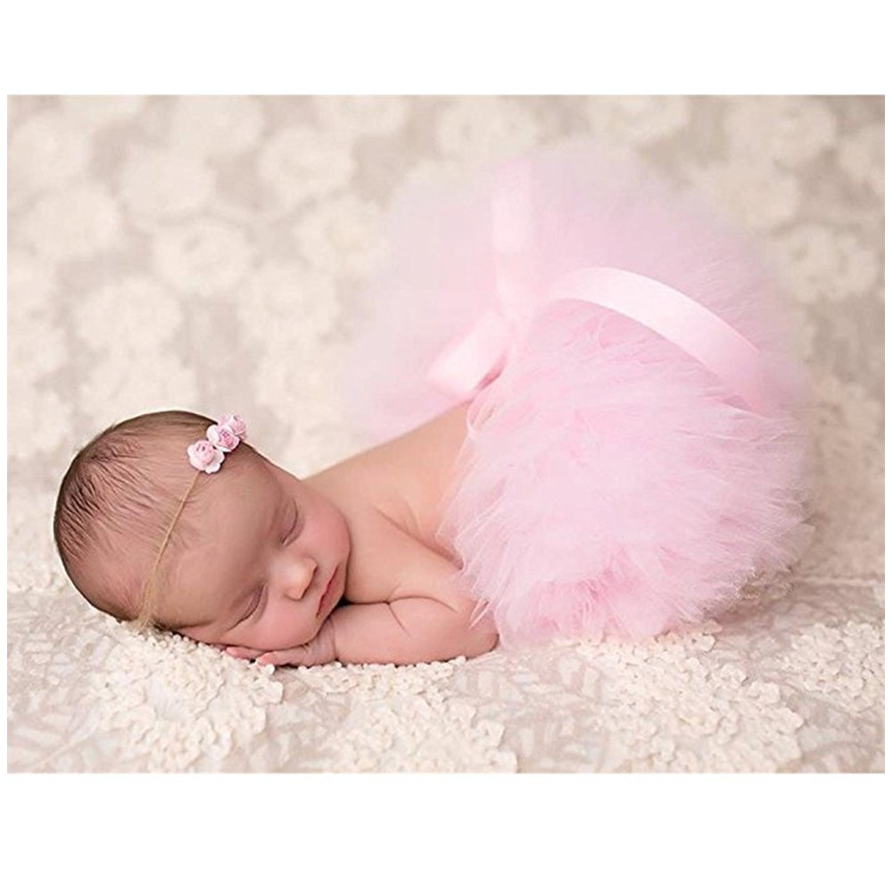Binlunnu Newborn Baby Photography Props Boy Girl Crochet Costume Outfits Tutu Skirt (Pink)
