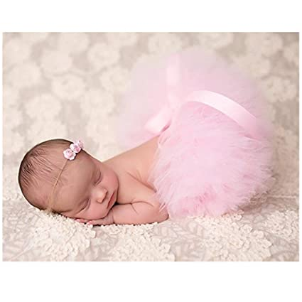 Accesorios para sesión de fotos de bebé Binlunnu. Disfraz, falda tutú, atuendo, croché, niño, niña rosa rosa Talla:recién nacido