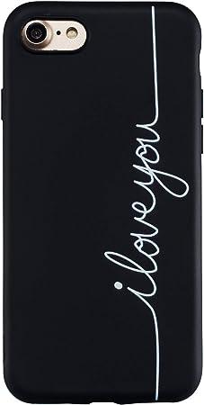Yobby Cover per iPhone 7,Cover iPhone 8 Divertenti Disegni Opaca Nera Silicone Custodia Ultrasottile Gomma Morbida Flessibile TPU Leggero AntiGraffio ...