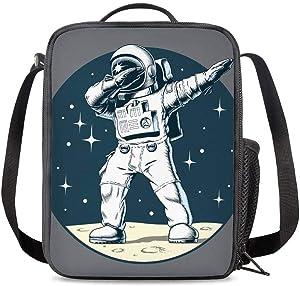 PrelerDIY Astronaut Lunch Box Food Bag Picnic Pouch Insulated Lunch Bag for Teenage Boys Girls School Beach
