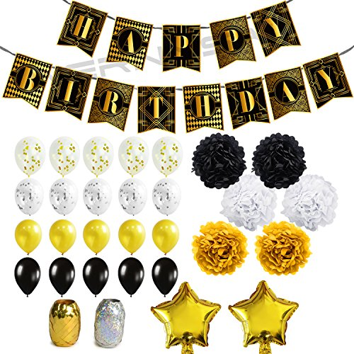 WERNNSAI Birthday Decorations Happy Birthday Banner Confetti Latex Balloons Ribbons Paper Pom Poms Star Foil Balloons Gold and Black 1920s Themed Party Supplies Set 43 Pieces -