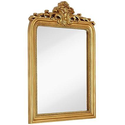 """Hamilton Hills Top Gold Baroque Wall Mirror   Rich Old World Feel Framed Beveled Elegant Glass Mirror   Entryway Bathroom Or Powder Room (24"""" X 36"""") by Hamilton Hills"""