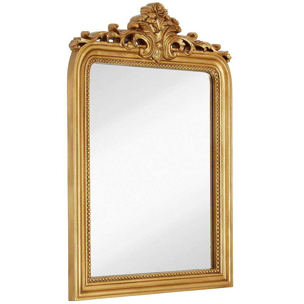 Top Gold Baroque Wall Mirror | Rich Old World Feel Framed Beveled Elegant Glass Mirror | Entryway Bathroom or Powder Room ( 24'' x 36'' )