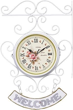 WANNA.ME Reloj de Soporte, Relojes, Reloj de Pared de Doble Cara Jardín Exterior Reloj de Silencio Vintage Reloj silencioso de Dos Lados para Uso en Interiores y Exteriores: Amazon.es: Hogar
