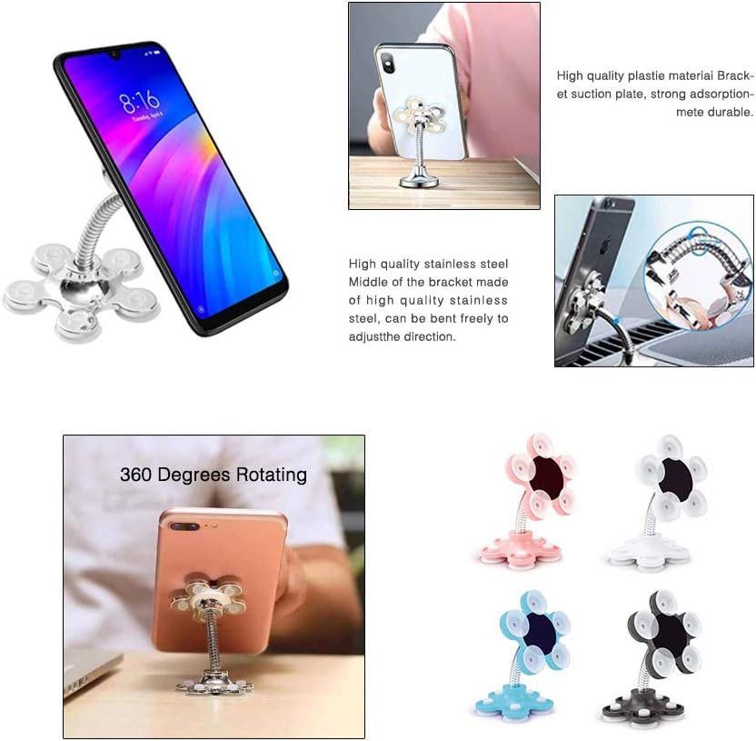 2Pcs Flower Suction Phone Holder,360 Flower Suction Phone Holder,Magic Suction Cup Bracket for Car Household Blue for Flat Surfaces Only