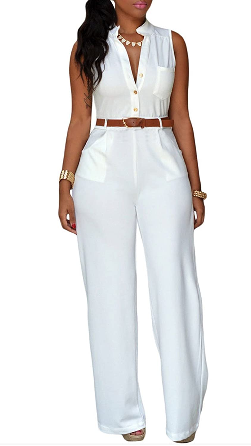Booty Gal Women's Sexy Belted Wide Leg Jumpsuit