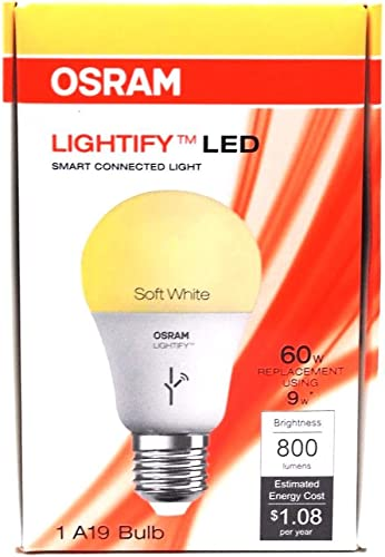Osram Lightify 9-Watt 60W Equivalent 2,700K A19 Dimmable Soft White LED Bulb with Built-In WiFi