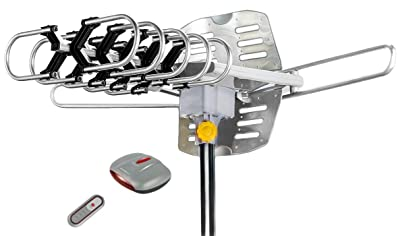 Outdoor Amplified HDTV/UHF/VHF Antenna w/ Remote Control