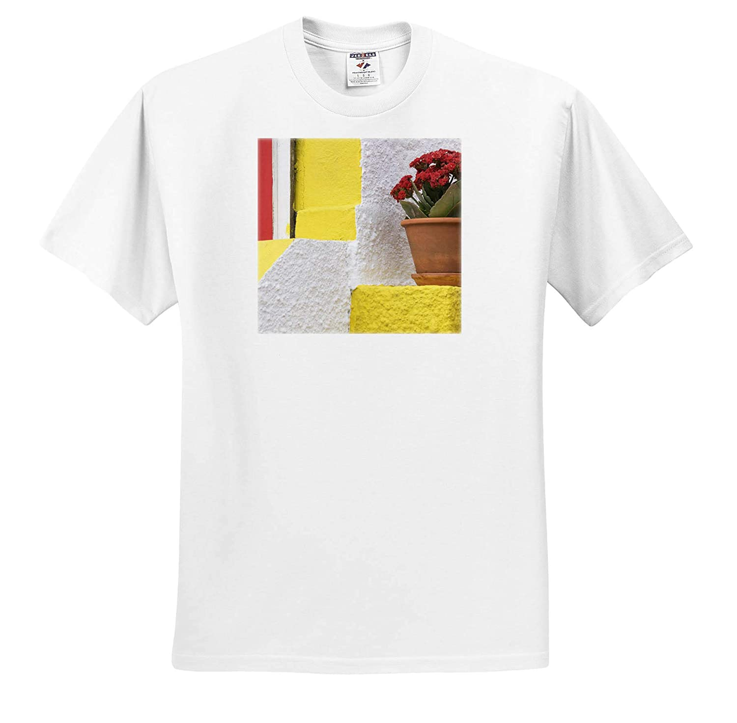 Portugal Flowers - Adult T-Shirt XL Colorful House with Flowering Plant on Step 3dRose Danita Delimont ts/_313809