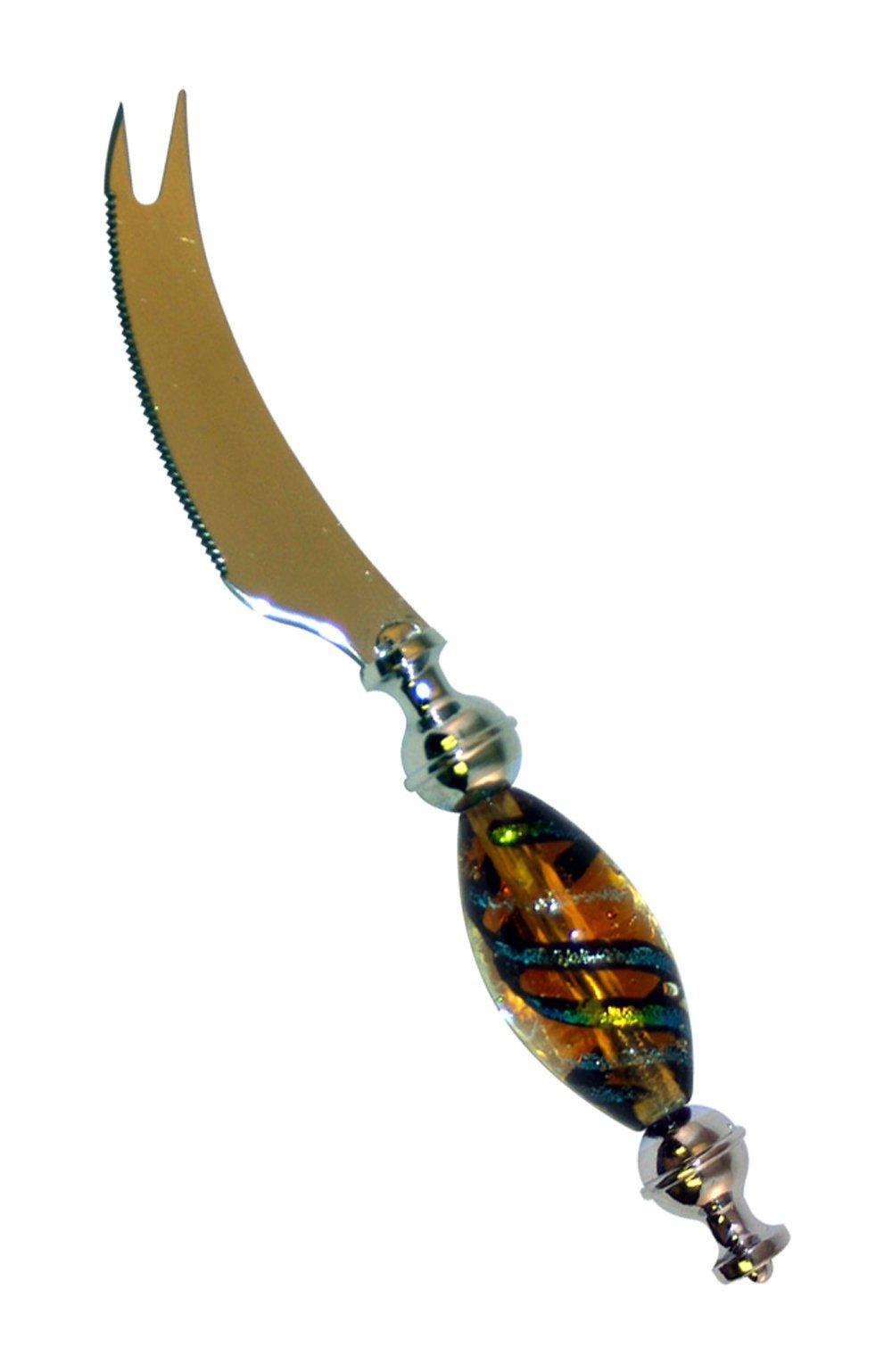 Zees Inc Pocket Bottles Handmade Glass Knife, Orange/Blue