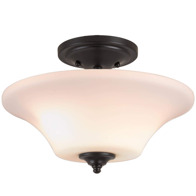 "Kira Home Beaumont 13"" Modern Transitional Semi Flush Mount Ceiling Light + Opal Glass Shade, Oil-Rubbed Bronze Finish"