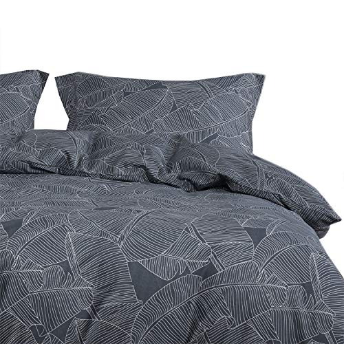 Wake In Cloud - Leaves Duvet Cover Set, 100% Cotton Bedding, White Tropical Tree Leaves Pattern Printed on Dark Gray Grey, with Zipper Closure (3pcs, Queen Size)