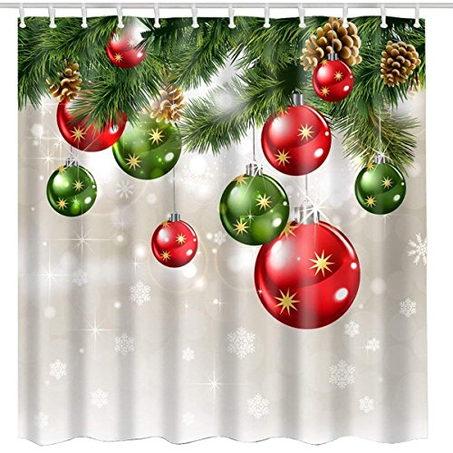 BROSHAN Christmas Shower Curtain Sets, Christmas Baubles Ornaments on Pine Tree Twig Printing, Xmas Fabric Bathroom Shower Curtains, Green Red White ()