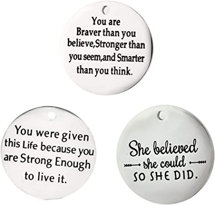 JIALEEY Wholesale Bulk Lots Inspirational Message Charm for Motivational Charms