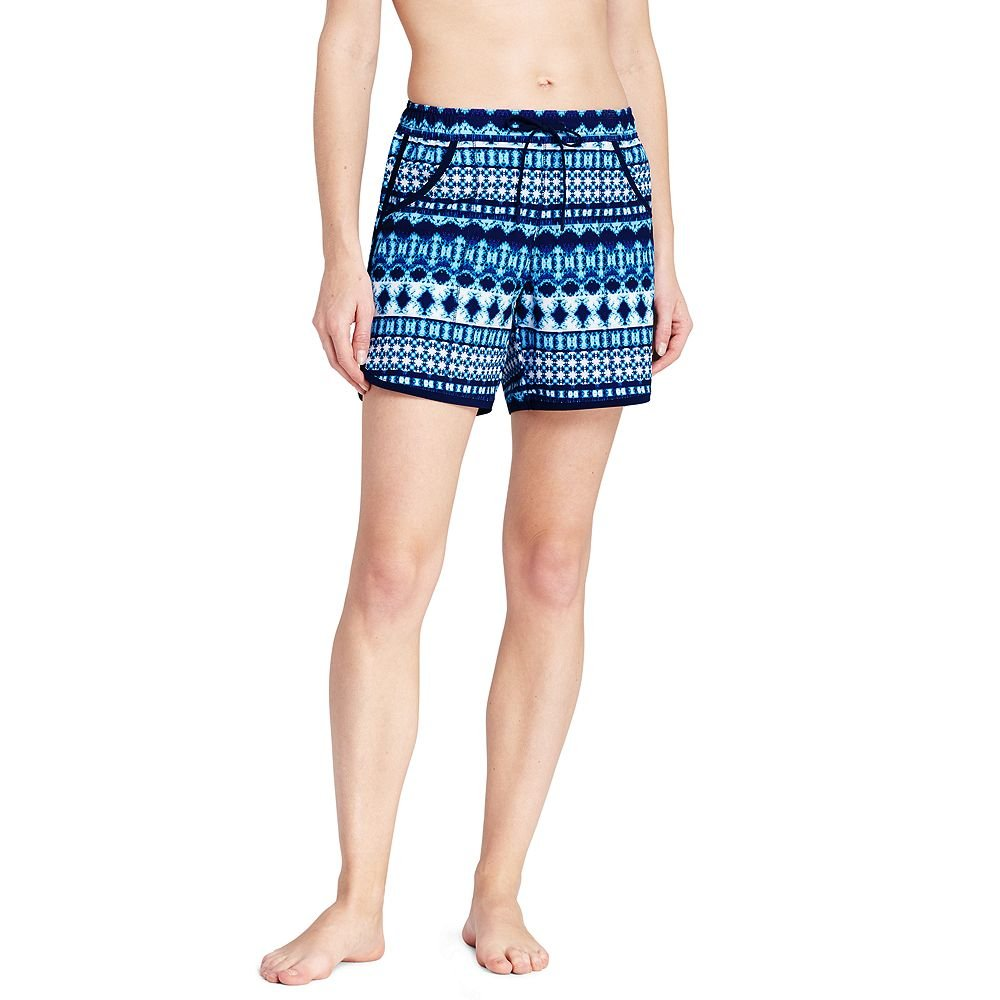 Lands' End Women's 5'' Swim Shorts with Panty, 6, Deep Sea Mystic Stripe Mix