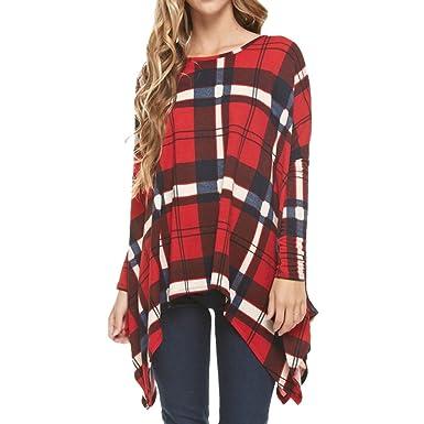 a5dde2d583eba Yidarton Women s Baggy Long Sleeve Plaid T-Shirt Casual Irregular Hem Round  Neck Plus Size