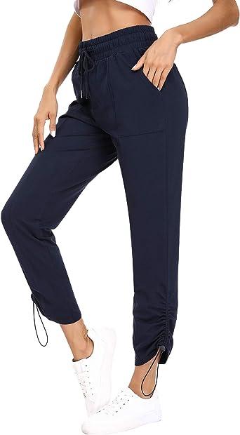 Hawiton Pantalon Chandal Mujer Largos Pantalones de Deporte Algodón Pantalones Deportivos Yoga Fitness Jogger: Amazon.es: Ropa y accesorios