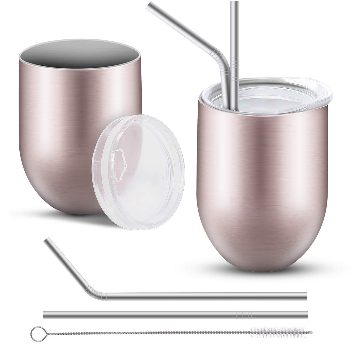 Topfire Stainless Steel Wine Tumbler Cup for Coffee Double Wall Vaccum Insulation Glass Stemless Wine Tumbler with Lid, Straw, Brush(2 Sets, 12 oz, Rose Gold)