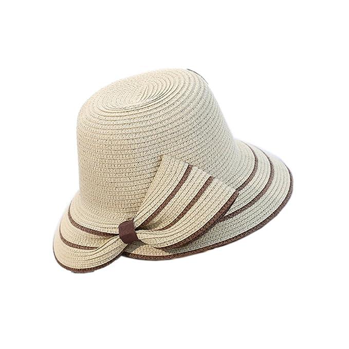 0ba3ff3914cd4d YSJOY Womens Half Bowknot Beach Sun Straw Hat UPF50 Travel Foldable Summer  Hat Beige
