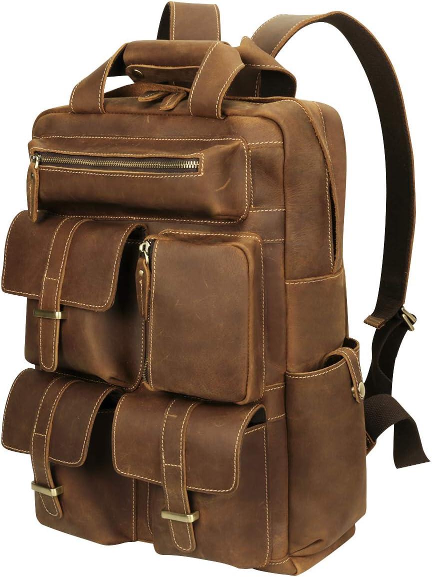 Platero Genuine Leather Men Backpack Breathable 15.6 Laptop Large Cowhide Rucksack Daypack Collage Bookbag Brown