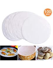 8 Inch Round Baking Paper Liners,100 PCS Parchment Paper, Unbleached Barbecue Paper Baking Sheets for Cooking, Steaming, Baking Cakes, Cookies, Pastries, Dutch Oven, Air Fryer, Tart Pan and BBQ