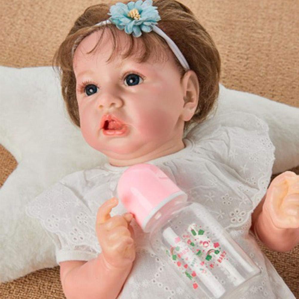 "22/""//55cm Realistic Reborn Handmade Newborn Baby Girl Doll Dummy /& Feeding Bottle"