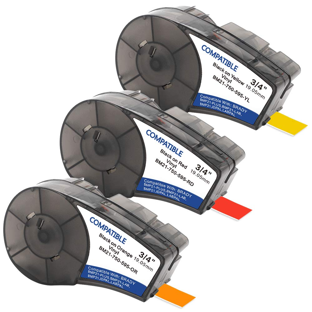 Samshion Compatible Brady M21-750-595-YL/RD/OR (3 Pack) BMP21-PLUS Labels,High Adhesion Vinyl Label Tape (Black on Yellow, Black on Red, Black on Orange) for BMP21-PLUS,IDPAL,BMP21-LAB -0.75'' Width