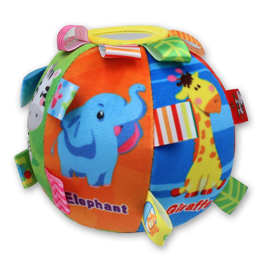 CHAFIN Multicolor Cartoon Animal Rattle Ball Toys Soft Plush with Sound Baby Educational Toys Hand Grasp Ball Toddler Toy for Age 6 Months to 3 Yrs