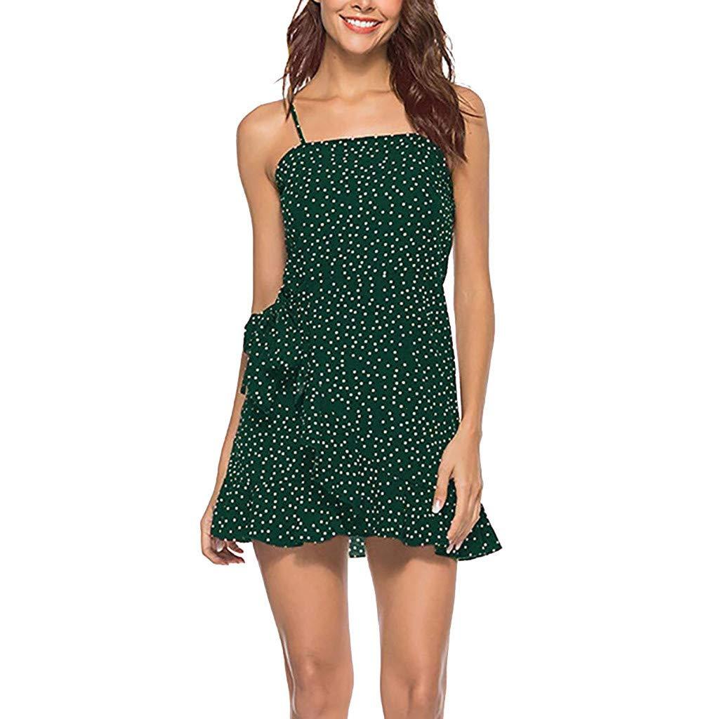 GREFER Women Casual Dress Summer Printed Beach Spaghetti Straps Dress Adjustable