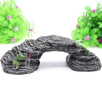 Owikar - Puente de resina para decoración de acuario, para tortuga, escalada, pecera