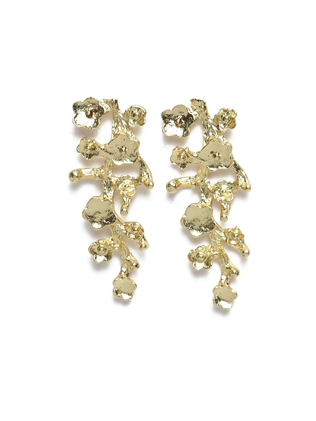 Diva Walk Gold-Toned Contemporary Studs-Onesize-Gold