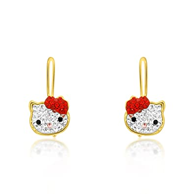 2620c3770 Amazon.com: 14K Yellow Gold Red And White CZ Hello Kitty Earrings: Jewelry