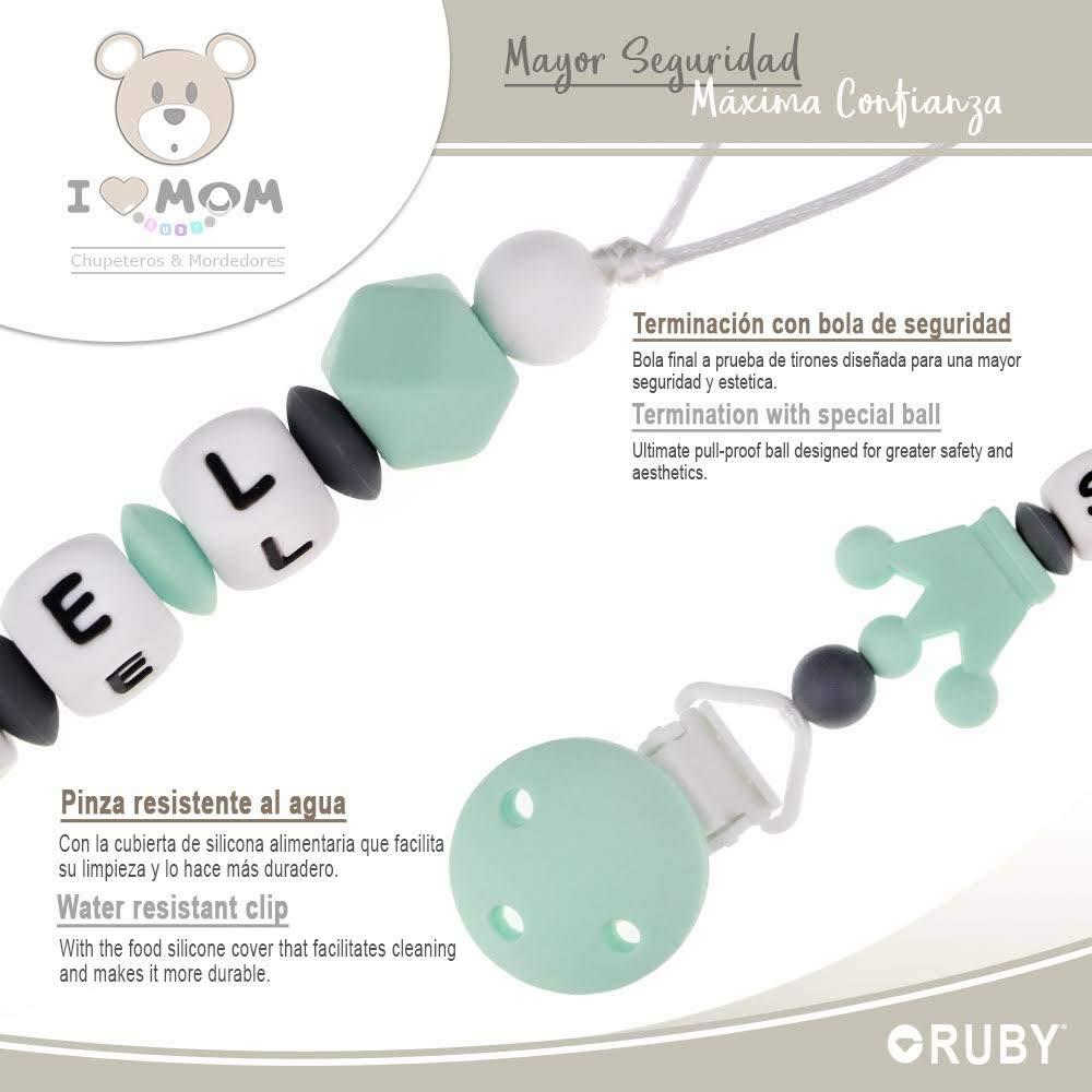 con 3 agujeros de seguridad Chupetero personalizado para bebe con nombre bola silicona antibacteria con pinza redonda de pl/ástico Chupetero de Corona 2/º unid al 15/% de desc RUBY Rosa