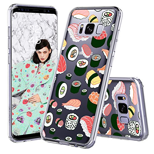 Galaxy S8 Case, Clear Galaxy S8 Case, MOSNOVO Cute Sushi Clear Design Printed Transparent Plastic Hard Back Case with TPU Soft Bumper Gel Protective Case Cover for Samsung Galaxy S8 (2017)