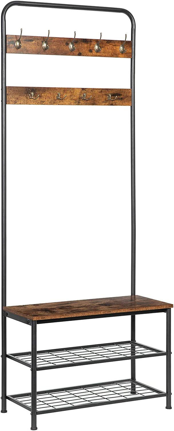 HOOBRO Coat Rack Shoe Bench, Pipe Style Hall Tree Organizer, Entryway Storage Shelf with Unique Double Hooks, Wood Look Accent Furniture with Metal Frame, Industrial Design, Rustic Brown BF01MT01