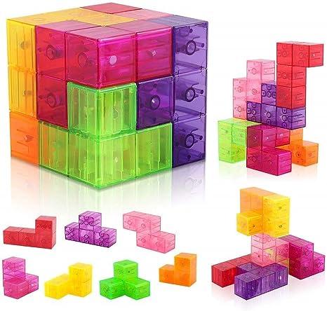 Daxoon Cubo de Rompecabezas magnético Tetris, Bloques de ...