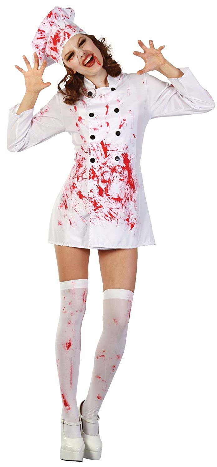 Ladies Sexy Zombie Dead Bloody Chef Cook Halloween Fancy Dress Costume  Outfit UK 10-12-14 (One Size (UK 10-14))  Amazon.co.uk  Clothing a5e7954c1