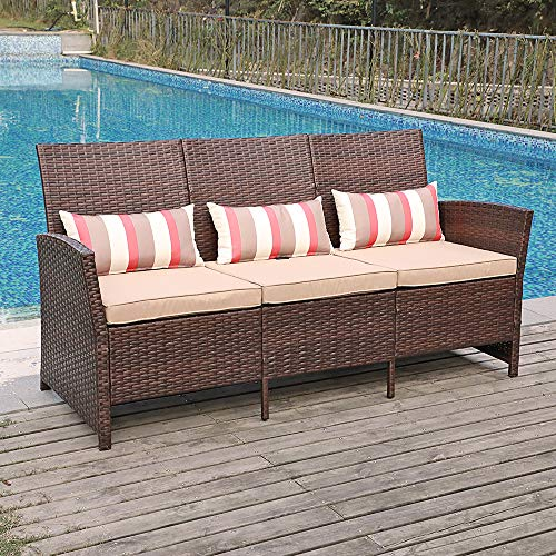 SUNSITT Outdoor Furniture 3 Seats Patio Sofa Couch, Brown PE Wicker with Beige Cushions & Lu ...