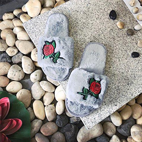 LaxBa Ladies Cachemire tricoté en coton gris maison Chaussons antiglisse41