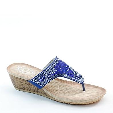 851c16e92c96 Brieten Women s T Strap Rhinestone Flip Flops Wedge Sandals (5.5