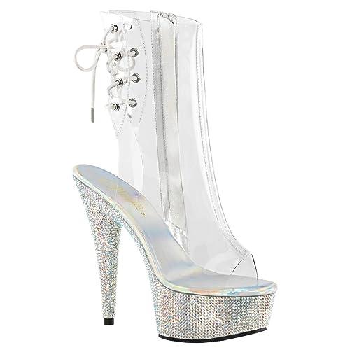 24f51ebc1 Summitfashions Womens Mid Calf Boots Rhinestone Shoes Clear Platform  Booties 6 Inch Heels Size: 5