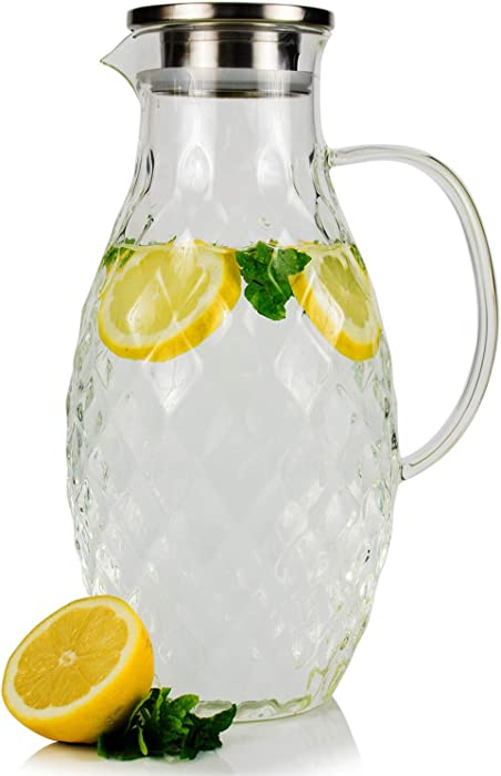 Large Glass Pitcher with Lid and Spout - 100 Ounces Big Cold and Hot Water Carafe with Unique Thick Glass Diamond Pattern, Beverage and Water Pitcher for Homemade Iced Tea and Juice.