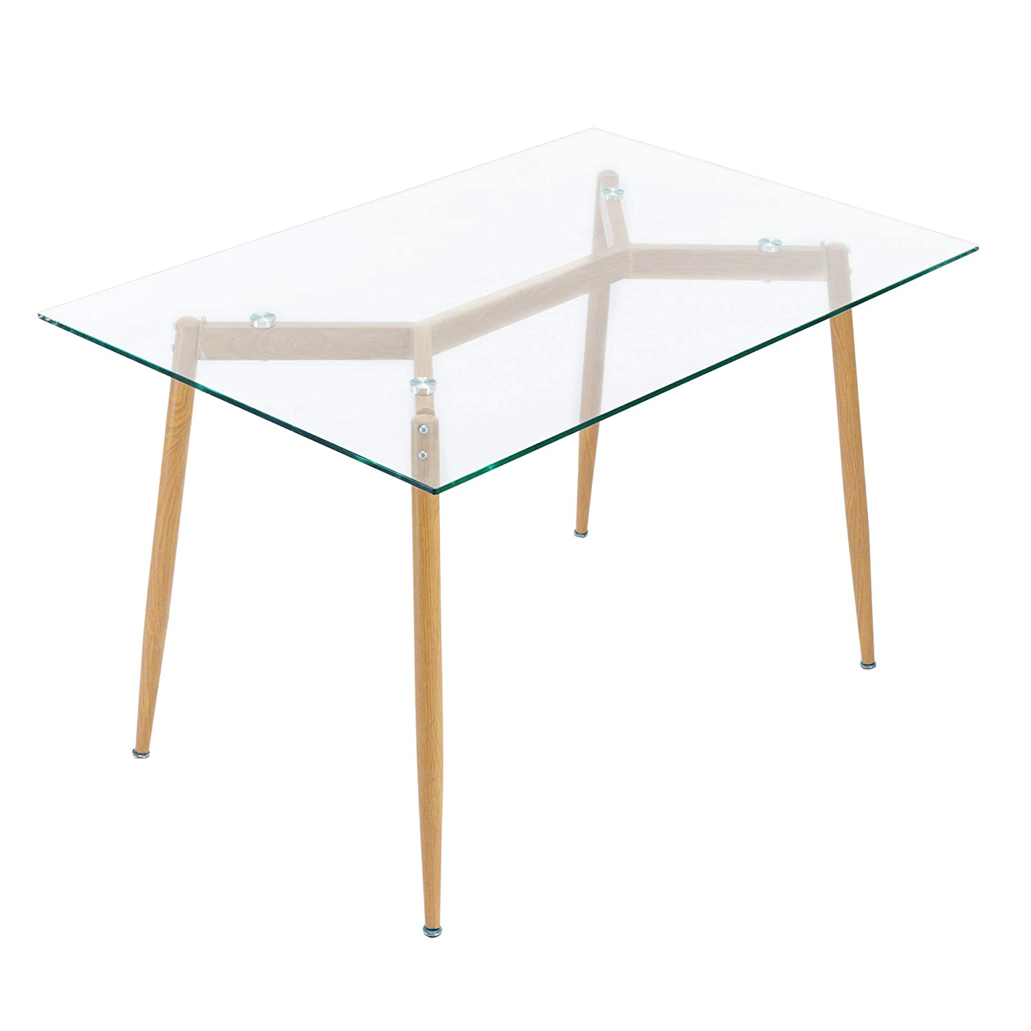 Ivinta Kitchen Modern Glass Rectangular Dining Table 48 x 32 for 4 6 with Foot pad for Dining Room Mid-Century Leisure Office Table Wooden Skin