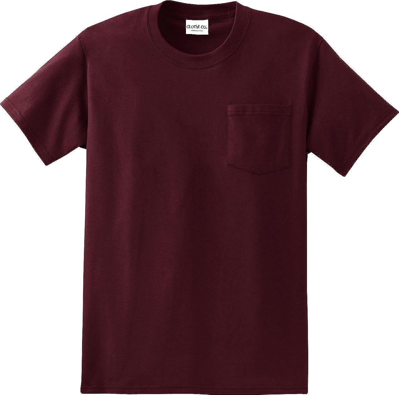 Clothe Co。メンズHeavyweight 100 %コットン半袖ポケットTシャツ B01BK6X3QA S|アスレチックマルーン アスレチックマルーン S