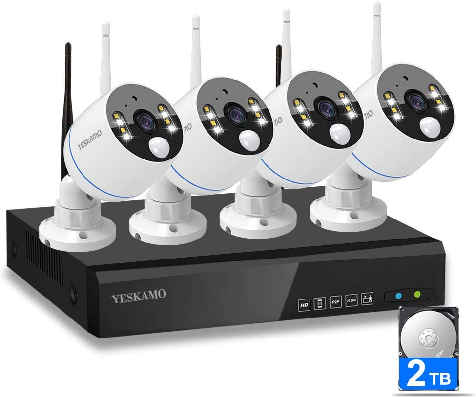 YESKAMO Security Camera System Wireless, 4 Pcs 1080P Floodlight IP Camera, 8-Channel WiFi NVR and 2TB Hard Drive, 2 Way Audio, Plug Play, Mobile View, Color Night Vision Surveillance NVR Kits