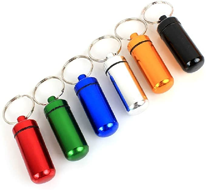 6pcs 5 * 1.7CM Colorful Waterproof Outdoor Camping Travel Traveling Portable Aluminum Pill Box Case Bottle Storage Drug Holder Container Keychain Key ...